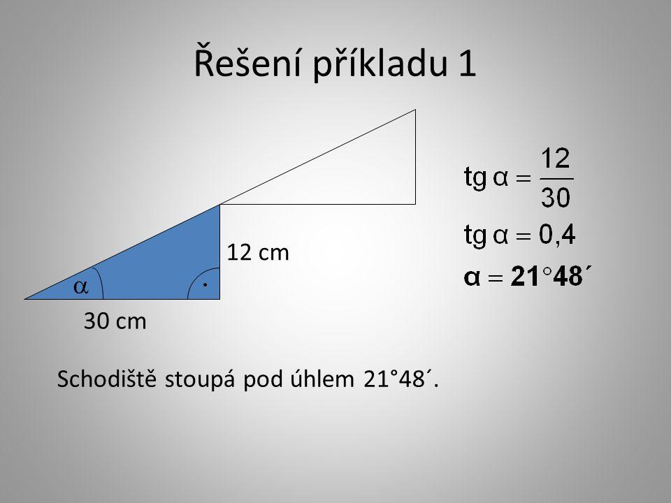 Řešení příkladu 1 Schodiště stoupá pod úhlem 21°48´. 30 cm 12 cm 