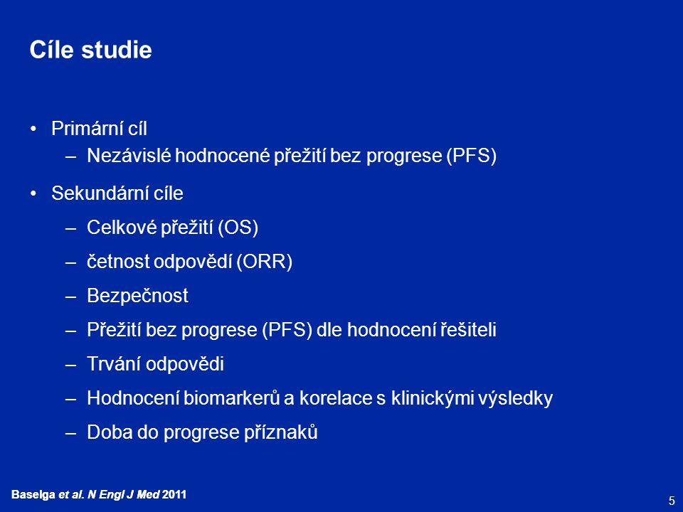 5 Baselga et al. N Engl J Med 2011 Cíle studie Primární cíl –Nezávislé hodnocené přežití bez progrese (PFS) Sekundární cíle –Celkové přežití (OS) –čet