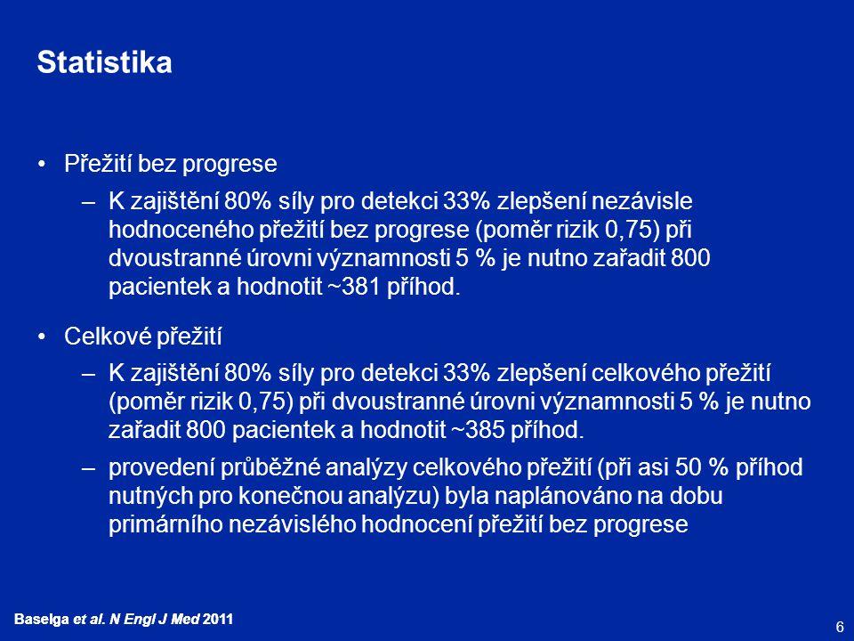 6 Baselga et al. N Engl J Med 2011 Statistika Přežití bez progrese –K zajištění 80% síly pro detekci 33% zlepšení nezávisle hodnoceného přežití bez pr