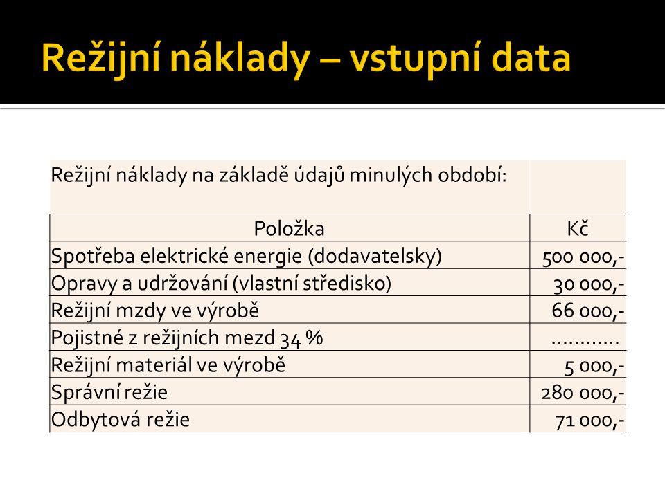 Režijní náklady na základě údajů minulých období: PoložkaKč Spotřeba elektrické energie (dodavatelsky)500 000,- Opravy a udržování (vlastní středisko)