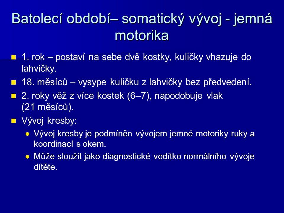 Batolecí období– somatický vývoj - jemná motorika 1.