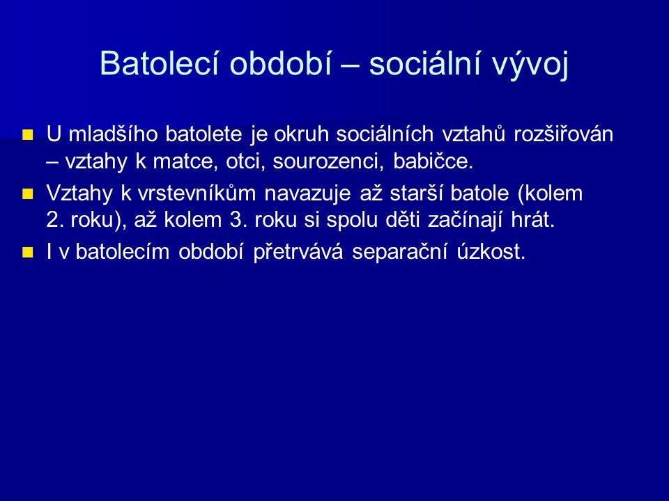 Batolecí období – sociální vývoj U mladšího batolete je okruh sociálních vztahů rozšiřován – vztahy k matce, otci, sourozenci, babičce.