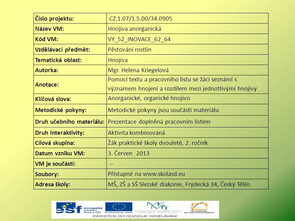 Číslo projektu: CZ.1.07/1.5.00/34.0905 Název VM:Hnojiva anorganická Kód VM:VY_52_INOVACE_62_64 Vzdělávací předmět:Pěstování rostlin Tematická oblast:H