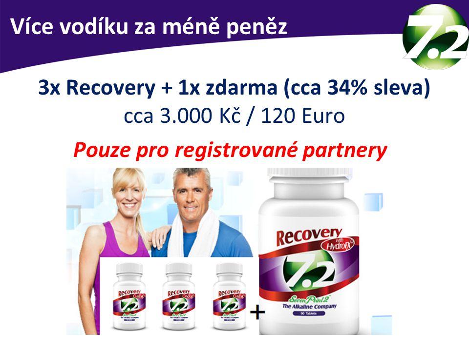 VÝHODA STÁVAJÍCÍM PARTNERŮM 3x Recovery + 1x zdarma (cca 34% sleva) cca 3.000 Kč / 120 Euro Pouze pro registrované partnery Více vodíku za méně peněz