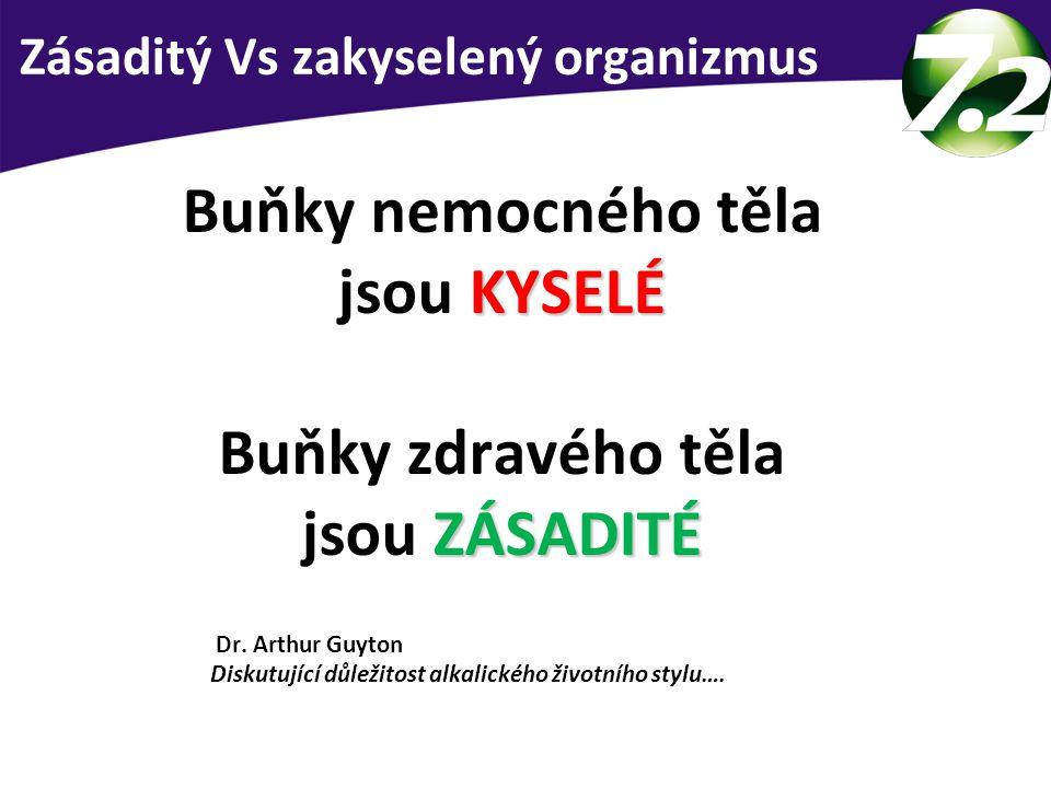 KYSELÉ Buňky nemocného těla jsou KYSELÉ ZÁSADITÉ Buňky zdravého těla jsou ZÁSADITÉ Dr. Arthur Guyton Diskutující důležitost alkalického životního styl
