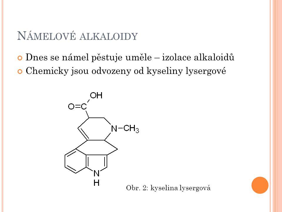N EJDŮLEŽITĚJŠÍ NÁMELOVÉ ALKALOIDY ERGOMETRIN Využití v porodnictví ERGOTAMIN Dříve využití k léčbě migrén LSD diamid kyseliny lysergové halucinogenní droga není návyková, ale mohou se dostavit nežádoucí psychické reakce (např.