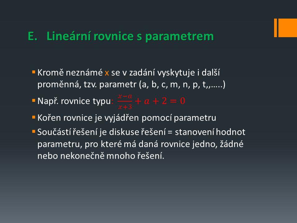 E. Lineární rovnice s parametrem