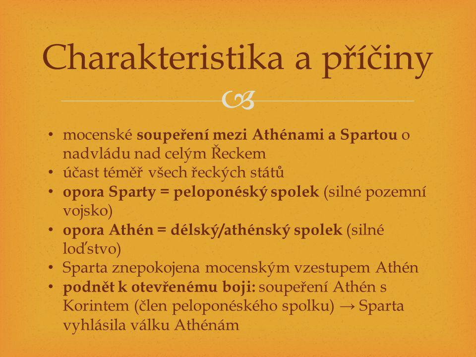  Charakteristika a příčiny mocenské soupeření mezi Athénami a Spartou o nadvládu nad celým Řeckem účast téměř všech řeckých států opora Sparty = pelo