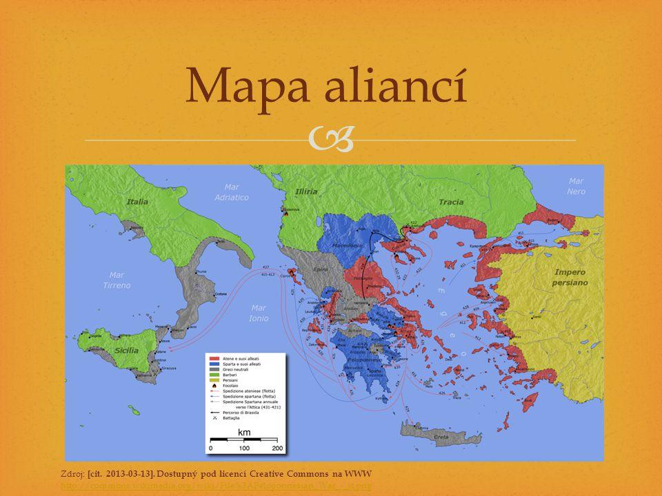  Zdroj: [cit. 2013-03-13]. Dostupný pod licencí Creative Commons na WWW http://commons.wikimedia.org/wiki/File%3APeloponnesian_War_-_it.png Mapa alia