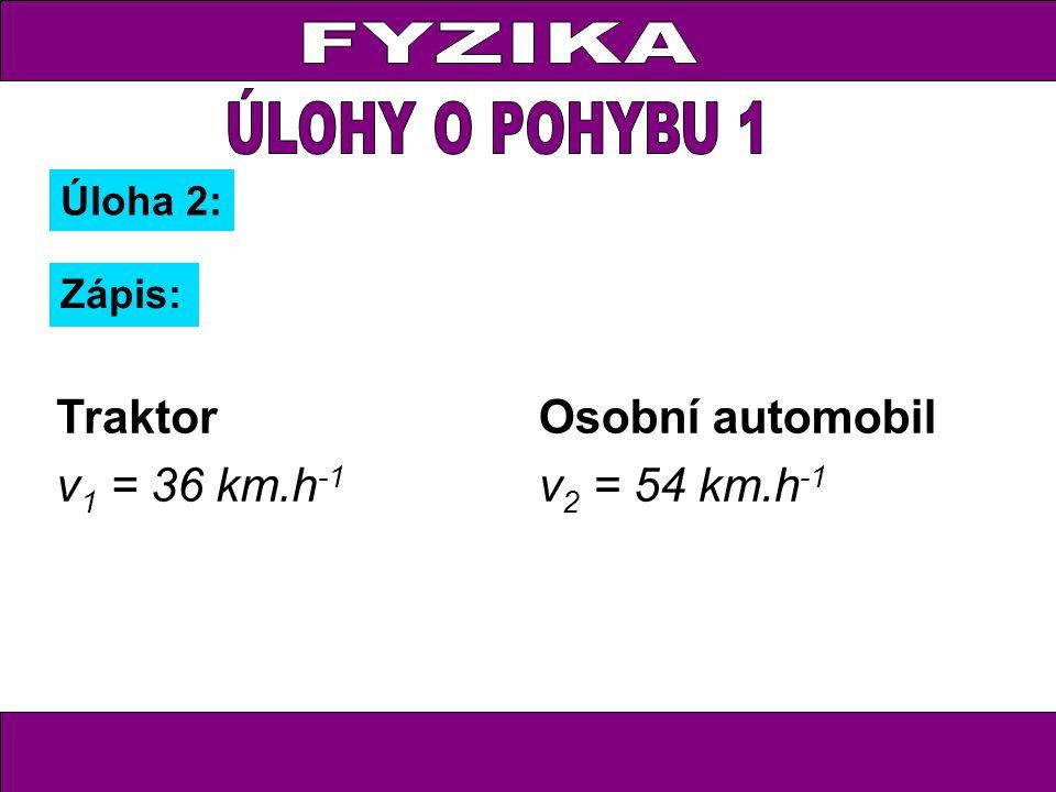 Úloha 2: Zápis: Traktor v 1 = 36 km.h -1 Osobní automobil v 2 = 54 km.h -1