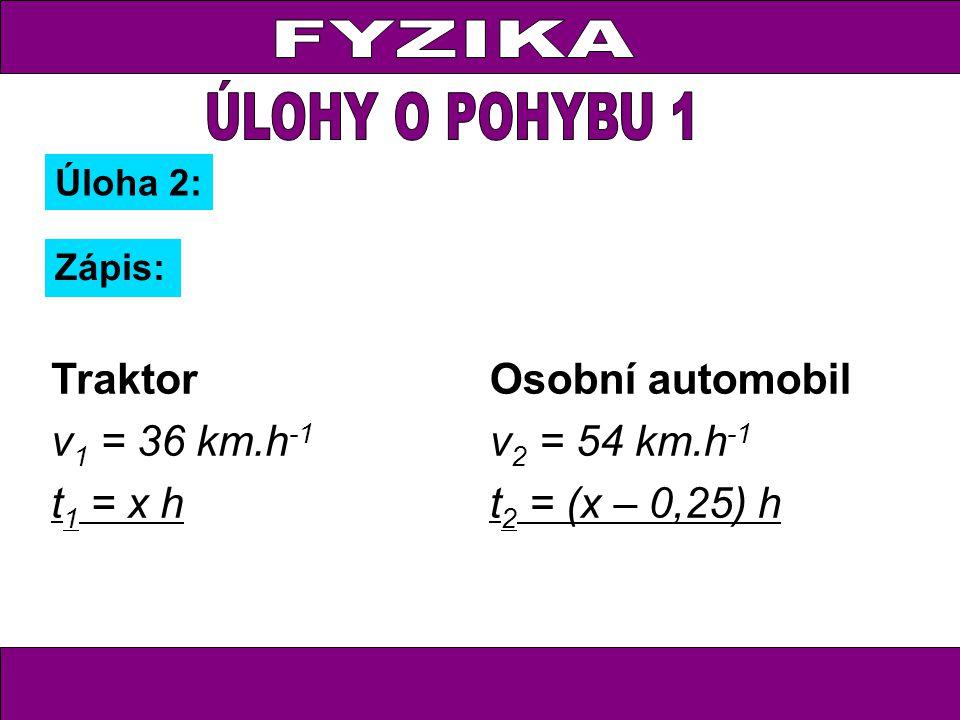 Úloha 2: Zápis: Traktor v 1 = 36 km.h -1 t 1 = x h Osobní automobil v 2 = 54 km.h -1 t 2 = (x – 0,25) h