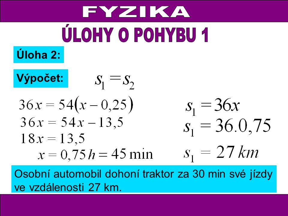 Úloha 2: Výpočet: Osobní automobil dohoní traktor za 30 min své jízdy ve vzdálenosti 27 km.