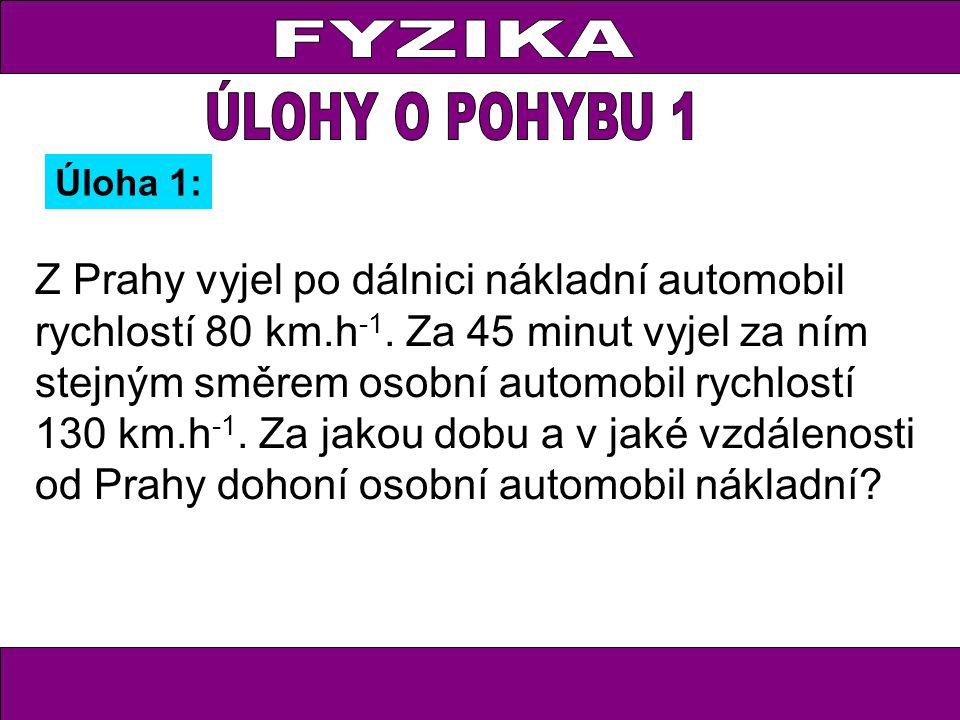 Z Prahy vyjel po dálnici nákladní automobil rychlostí 80 km.h -1. Za 45 minut vyjel za ním stejným směrem osobní automobil rychlostí 130 km.h -1. Za j