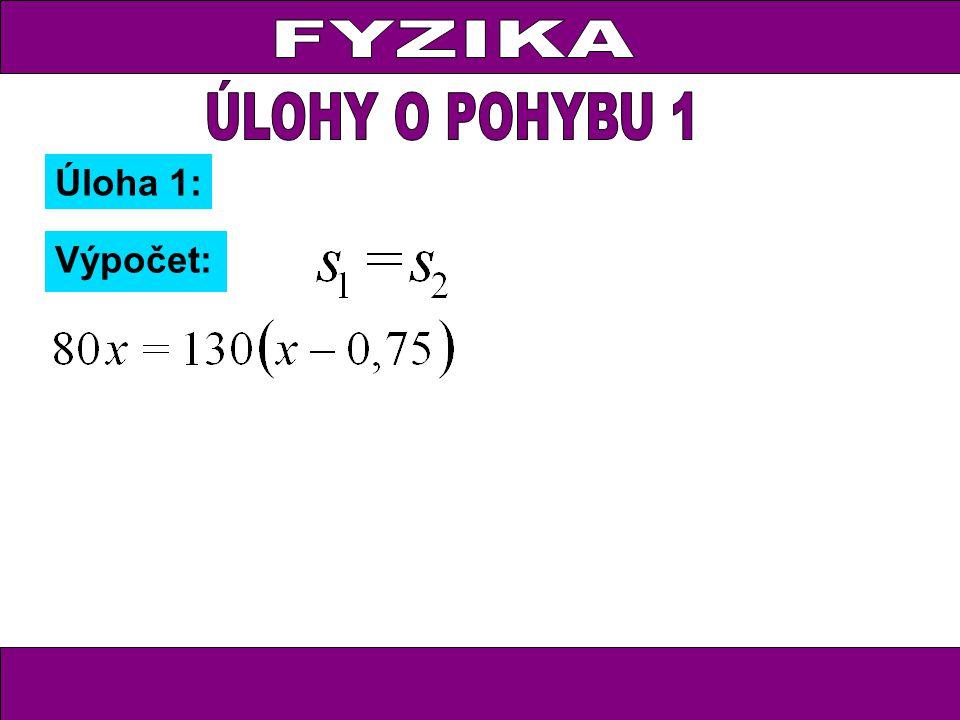 Úloha 2: Zápis: Traktor v 1 = 36 km.h -1 t 1 = x h s 1 = 36x Osobní automobil v 2 = 54 km.h -1 t 2 = (x – 0,25) h s 2 = 54(x – 0,25)