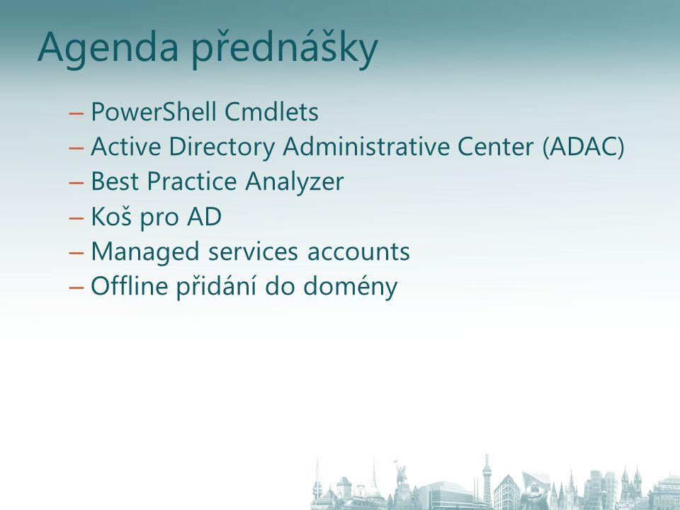 Powershell pro Active Directory Skripty příkazové řádky pro většinu úkolů Původní omezení – 30+ nástrojů CMD pro administraci AD nejsou při správě konzistentní – Obtížná kombinace těchto nástrojů pro vykonání komplexních úkonů Co je nového.