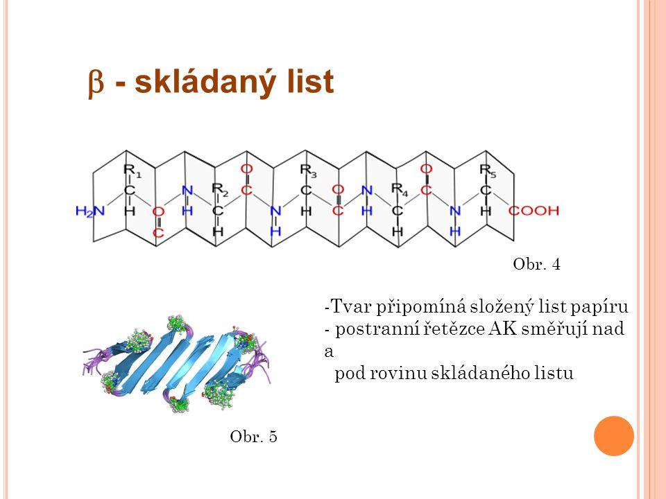  - skládaný list -Tvar připomíná složený list papíru - postranní řetězce AK směřují nad a pod rovinu skládaného listu Obr.
