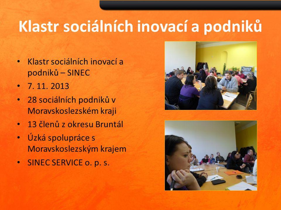 Klastr sociálních inovací a podniků Klastr sociálních inovací a podniků – SINEC 7. 11. 2013 28 sociálních podniků v Moravskoslezském kraji 13 členů z