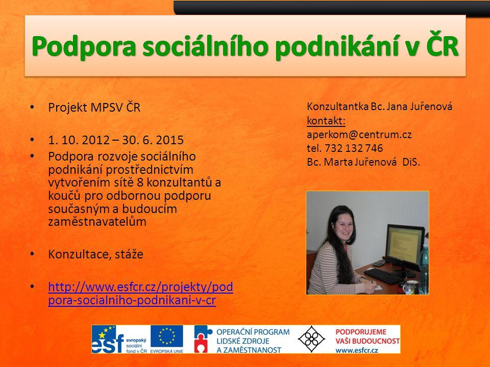Projekt MPSV ČR 1. 10. 2012 – 30. 6. 2015 Podpora rozvoje sociálního podnikání prostřednictvím vytvořením sítě 8 konzultantů a koučů pro odbornou podp