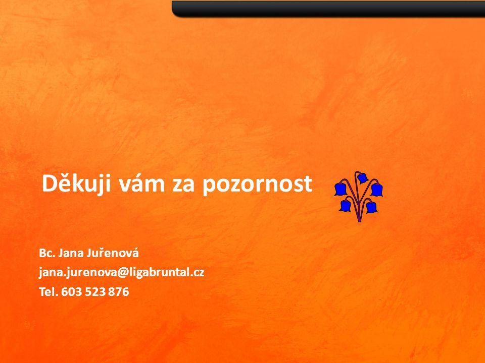Děkuji vám za pozornost Bc. Jana Juřenová jana.jurenova@ligabruntal.cz Tel. 603 523 876