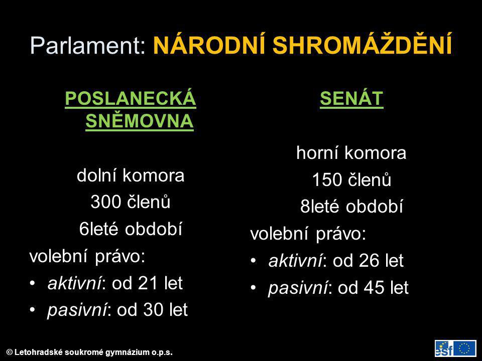 © Letohradské soukromé gymnázium o.p.s. Parlament: NÁRODNÍ SHROMÁŽDĚNÍ POSLANECKÁ SNĚMOVNA dolní komora 300 členů 6leté období volební právo: aktivní: