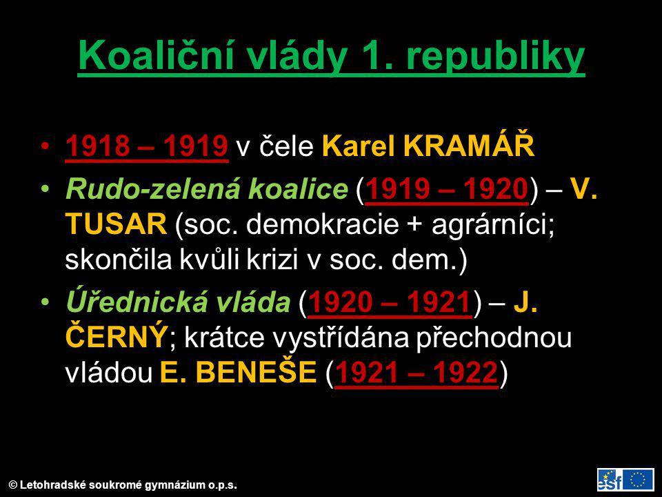 © Letohradské soukromé gymnázium o.p.s. Koaliční vlády 1. republiky 1918 – 1919 v čele Karel KRAMÁŘ Rudo-zelená koalice (1919 – 1920) – V. TUSAR (soc.