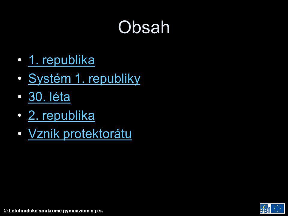 Obsah 1. republika Systém 1. republiky 30. léta 2. republika Vznik protektorátu