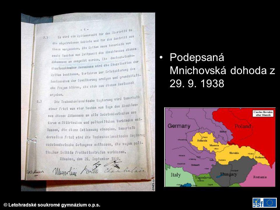 Podepsaná Mnichovská dohoda z 29. 9. 1938
