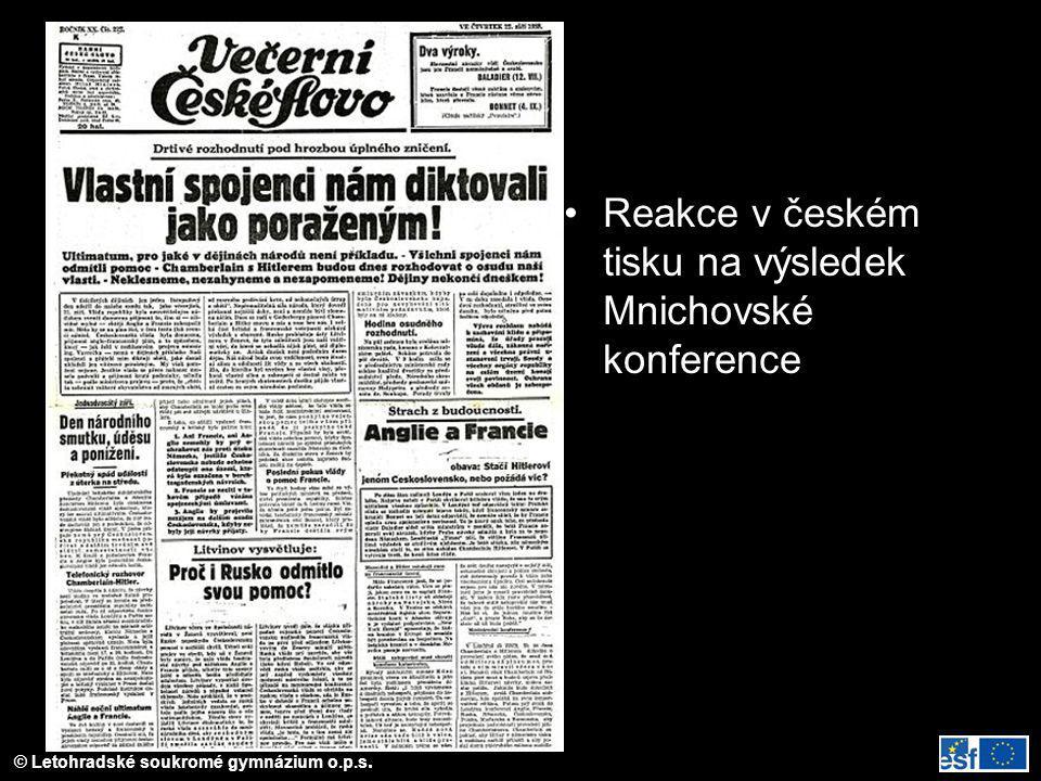 © Letohradské soukromé gymnázium o.p.s. Reakce v českém tisku na výsledek Mnichovské konference
