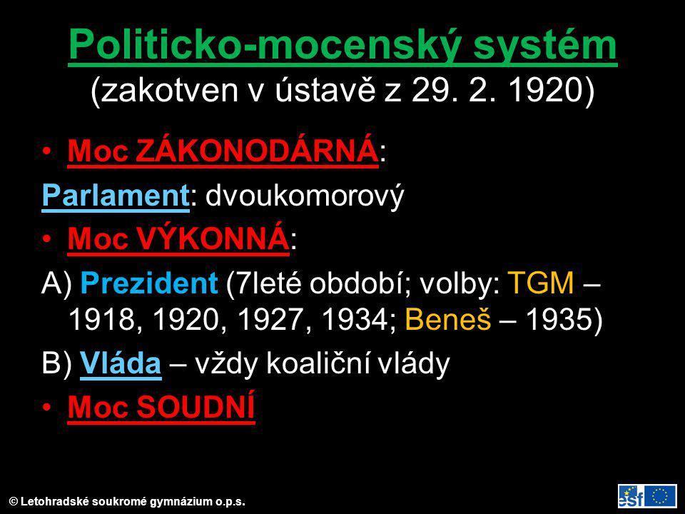 © Letohradské soukromé gymnázium o.p.s. Politicko-mocenský systém (zakotven v ústavě z 29. 2. 1920) Moc ZÁKONODÁRNÁ: ParlamentParlament: dvoukomorový