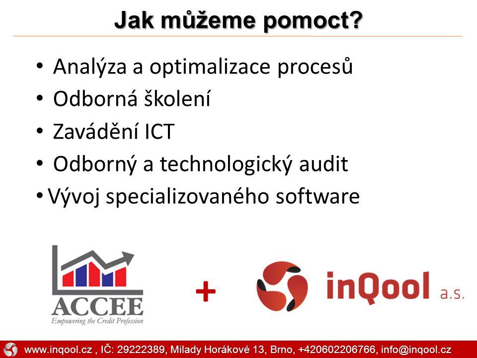 Jak můžeme pomoct? + Analýza a optimalizace procesů Odborná školení Zavádění ICT Odborný a technologický audit Vývoj specializovaného software www.inq
