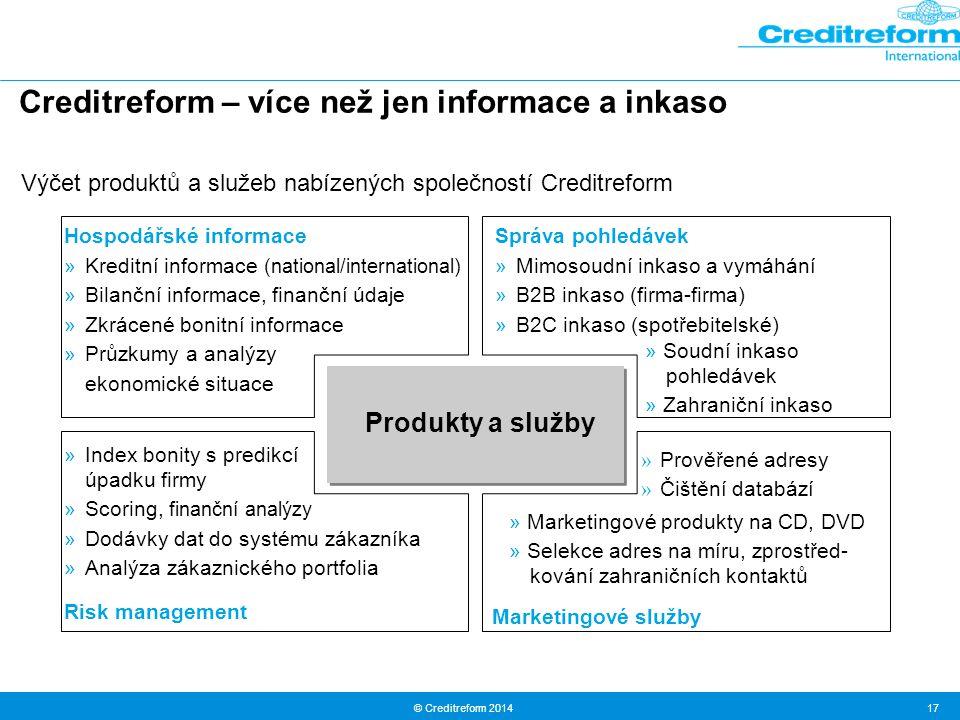 © Creditreform 2014 17 Creditreform – více než jen informace a inkaso Produkty a služby Hospodářské informace »Kreditní informace (national/internatio