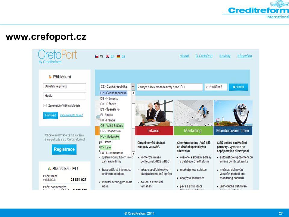 © Creditreform 2014 27 www.crefoport.cz