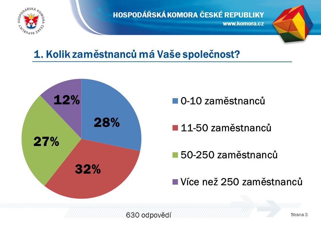 Strana 3 1. Kolik zaměstnanců má Vaše společnost? www.komora.cz HOSPODÁŘSKÁ KOMORA ČESKÉ REPUBLIKY