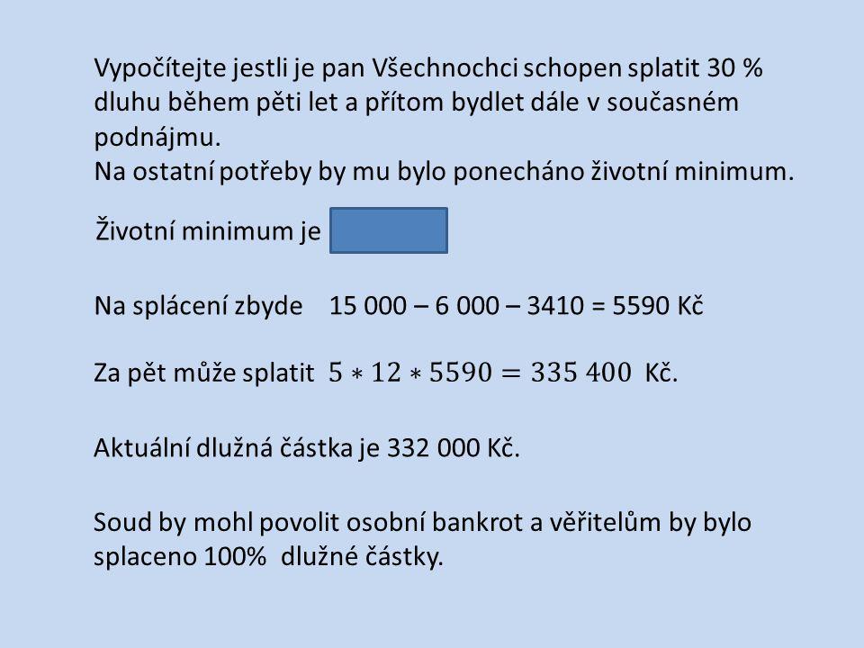 Životní minimum je 3410 Kč.