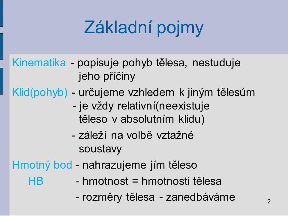 Základní pojmy Kinematika - popisuje pohyb tělesa, nestuduje jeho příčiny Klid(pohyb) - určujeme vzhledem k jiným tělesům - je vždy relativní(neexistu
