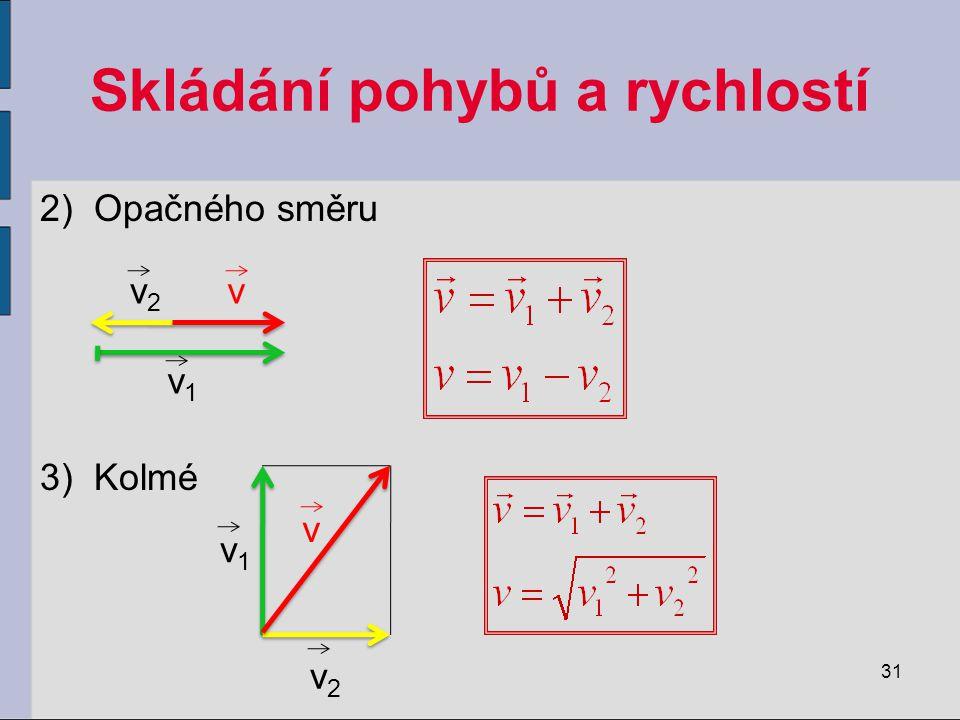 Skládání pohybů a rychlostí 2)Opačného směru 3)Kolmé 31 vv2v2 v1v1 v v1v1 v2v2