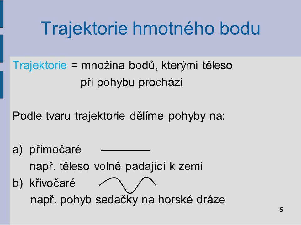 Trajektorie hmotného bodu Trajektorie = množina bodů, kterými těleso při pohybu prochází Podle tvaru trajektorie dělíme pohyby na: a)přímočaré např. t