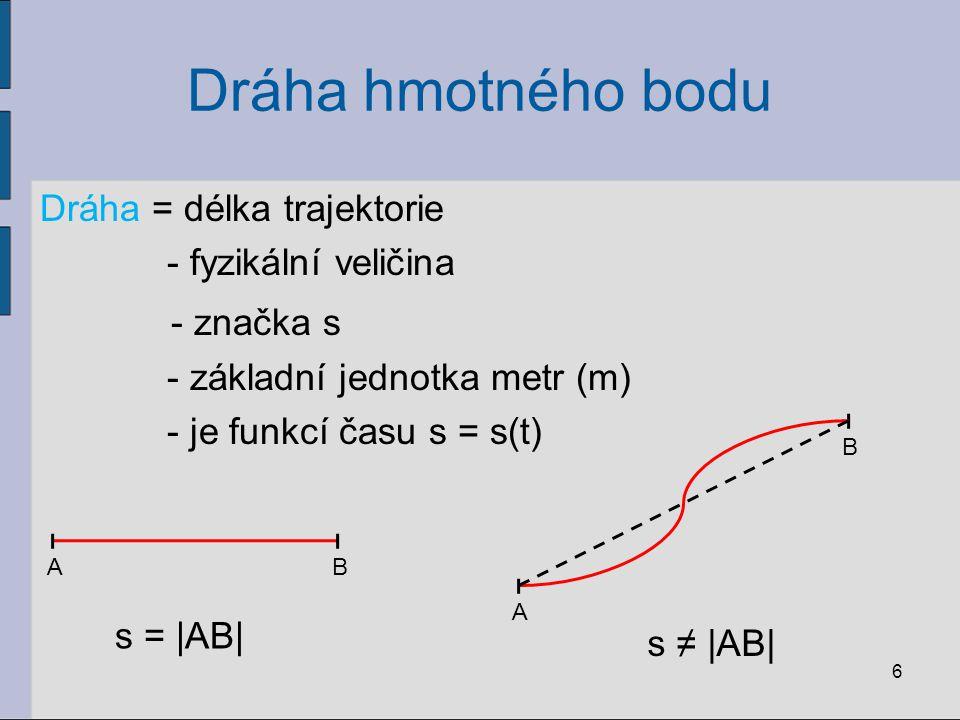 Dráha hmotného bodu Dráha = délka trajektorie - fyzikální veličina - značka s - základní jednotka metr (m) - je funkcí času s = s(t) 6 AB A B s = |AB| s ≠ |AB|