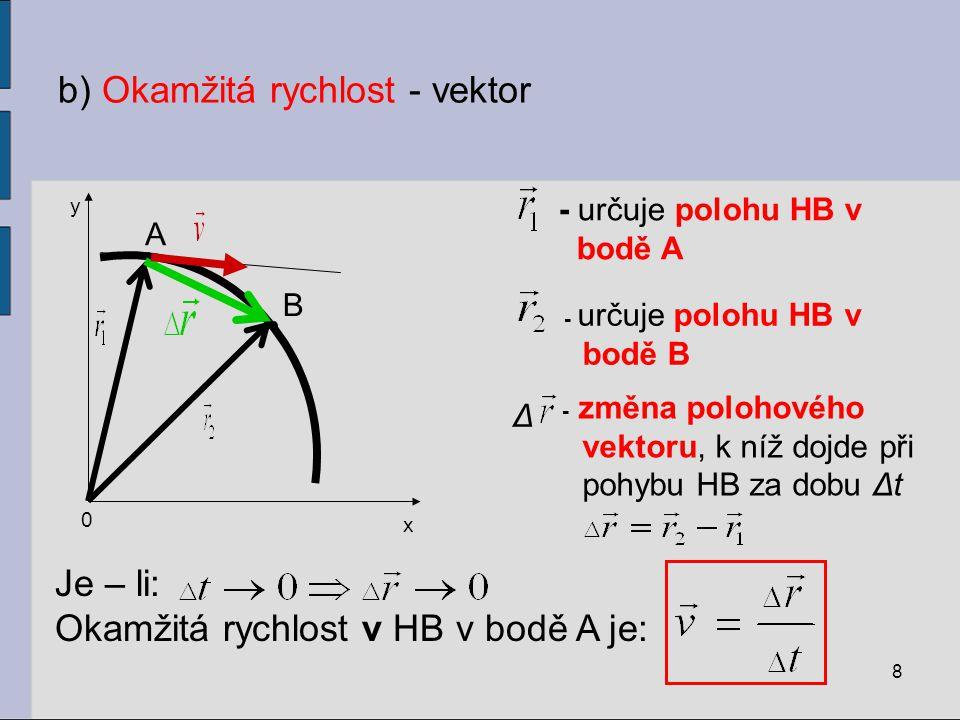 b) Okamžitá rychlost - vektor 8 y A 0 x B - určuje polohu HB v bodě B - určuje polohu HB v bodě A Δ - změna polohového vektoru, k níž dojde při pohybu