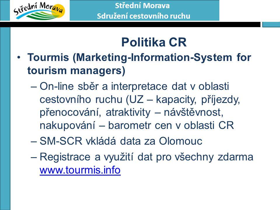 Střední Morava Sdružení cestovního ruchu Politika CR Tourmis (Marketing-Information-System for tourism managers) –On-line sběr a interpretace dat v ob