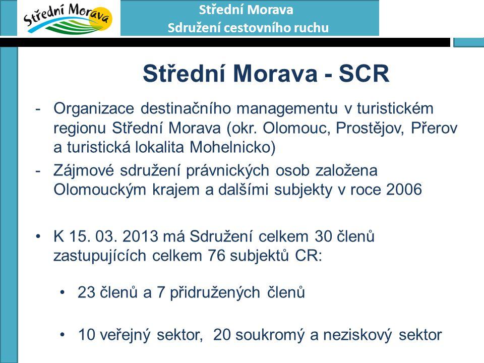 Střední Morava Sdružení cestovního ruchu Střední Morava - SCR -Organizace destinačního managementu v turistickém regionu Střední Morava (okr. Olomouc,