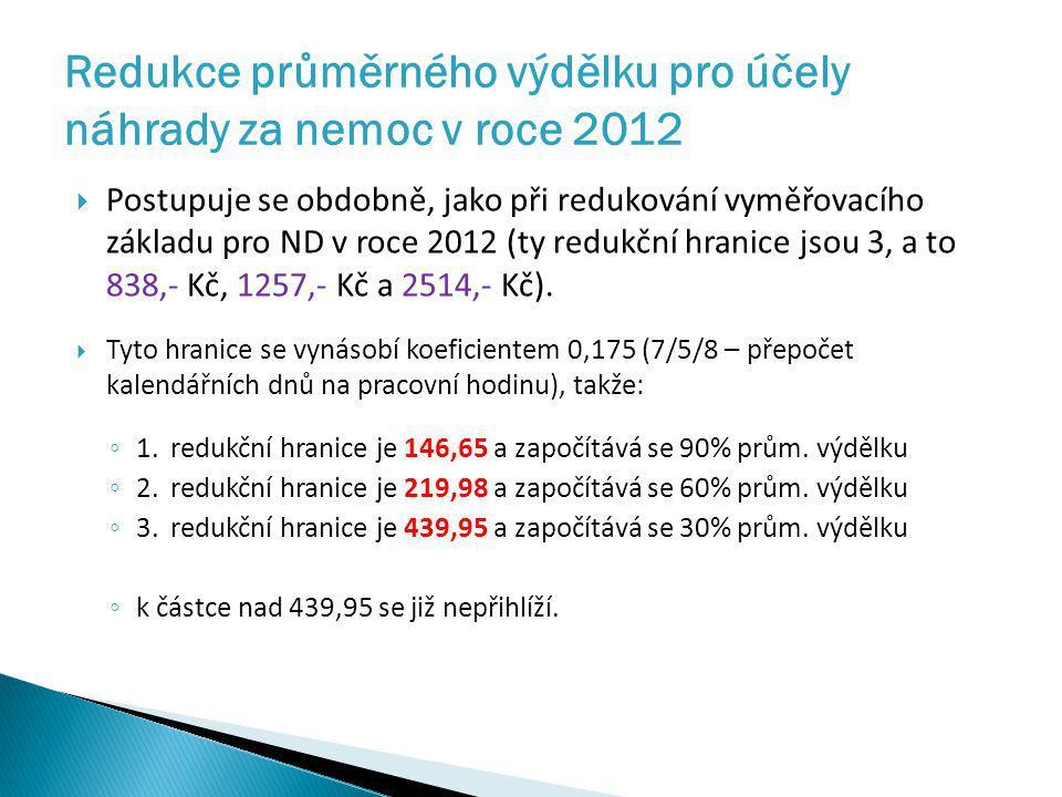 Redukce průměrného výdělku pro účely náhrady za nemoc v roce 2012  Postupuje se obdobně, jako při redukování vyměřovacího základu pro ND v roce 2012