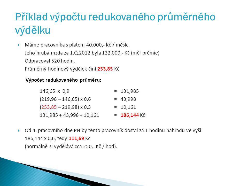 Příklad výpočtu redukovaného průměrného výdělku  Máme pracovníka s platem 40.000,- Kč / měsíc. Jeho hrubá mzda za 1.Q.2012 byla 132.000,- Kč (měl pré