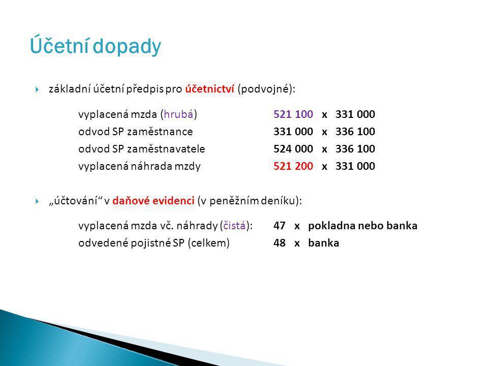 Účetní dopady  základní účetní předpis pro účetnictví (podvojné): vyplacená mzda (hrubá)521 100 x 331 000 odvod SP zaměstnance331 000 x 336 100 odvod