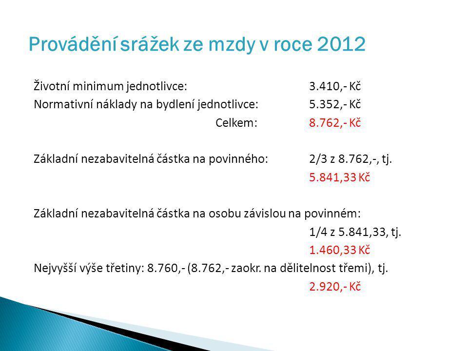 Provádění srážek ze mzdy v roce 2012 Životní minimum jednotlivce: 3.410,- Kč Normativní náklady na bydlení jednotlivce: 5.352,- Kč Celkem: 8.762,- Kč