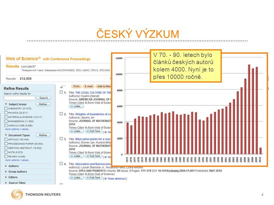 ČESKÝ VÝZKUM 4 V 70. - 90. letech bylo článků českých autorů kolem 4000. Nyní je to přes 10000 ročně.