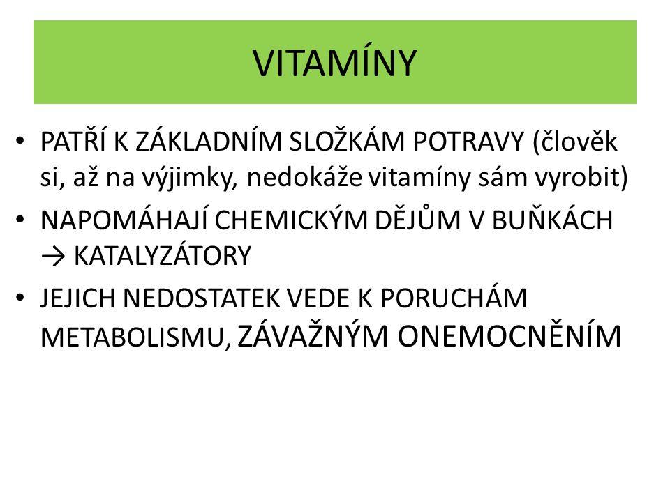 VITAMÍNY PATŘÍ K ZÁKLADNÍM SLOŽKÁM POTRAVY (člověk si, až na výjimky, nedokáže vitamíny sám vyrobit) NAPOMÁHAJÍ CHEMICKÝM DĚJŮM V BUŇKÁCH → KATALYZÁTO