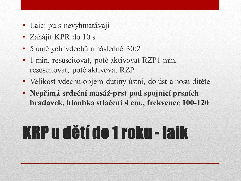 KRP u dětí do 1 roku - laik Laici puls nevyhmatávají Zahájit KPR do 10 s 5 umělých vdechů a následně 30:2 1 min. resuscitovat, poté aktivovat RZP1 min