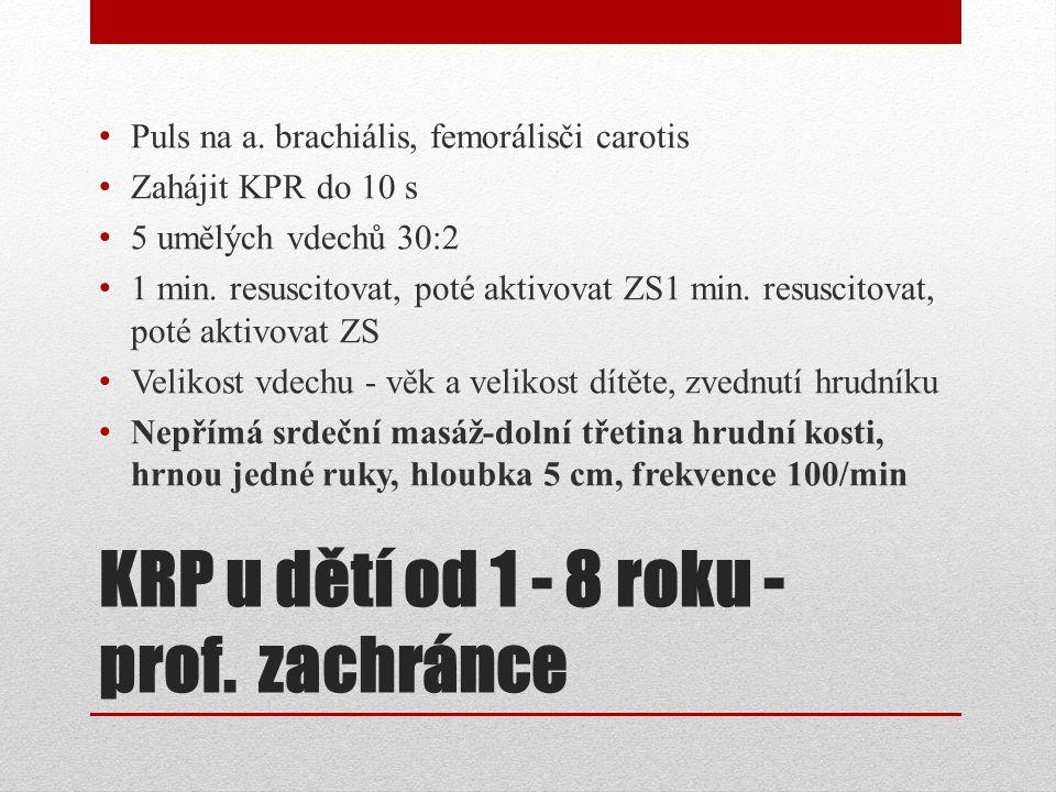 KRP u dětí od 1 - 8 roku - prof. zachránce Puls na a. brachiális, femorálisči carotis Zahájit KPR do 10 s 5 umělých vdechů 30:2 1 min. resuscitovat, p