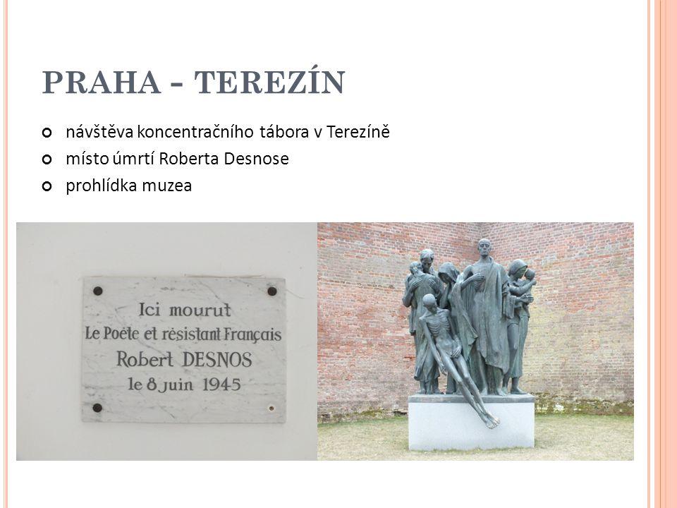PRAHA - TEREZÍN návštěva koncentračního tábora v Terezíně místo úmrtí Roberta Desnose prohlídka muzea